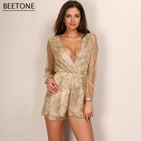 Beetone 2017 New Fashion Womens Rompers Sparkly Glitter Playsuits Sequins Bodysuit Women Deep V Neck Sexy Overalls Jumpsuit