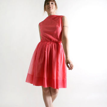 Vintage 1960s Mini Dress  Coral Pink Chiffon Cocktail by zwzzy