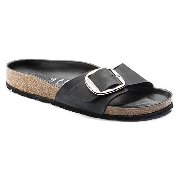 Best Online Sale Birkenstock Madrid Big Buckle Oiled Leather Black 1006523 Sandals