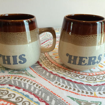 Vintage 1970's His and Hers Ceramic Coffee Mugs