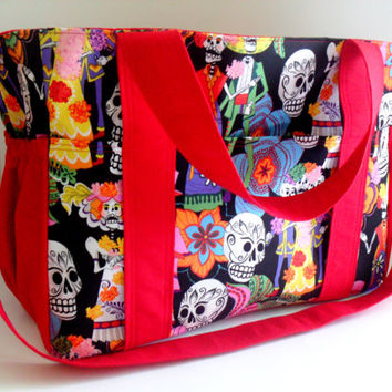 Extra Large Diaper bag Made of Dia De Los Muertos Fabrics / Day of the Dead / 10 Pockets