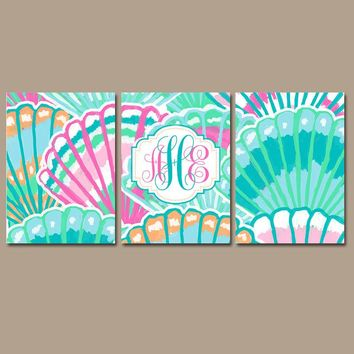 MONOGRAM Wall Art, Seashell Decor, Aqua Turquoise Pink, Monogram Wall Decor, Lilly Baby Girl Nursery, CANVAS or Print, Set of 3 Bathroom