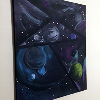Acrylic Galaxy Painting - Glows in the Dark!