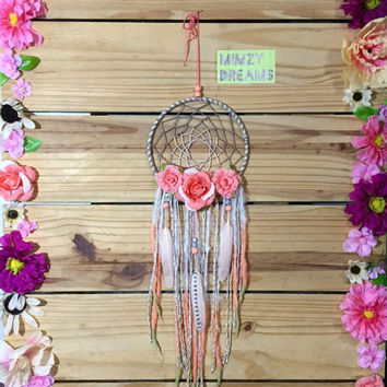 Ombre Coral, White & Green Dream Catcher With Flowers