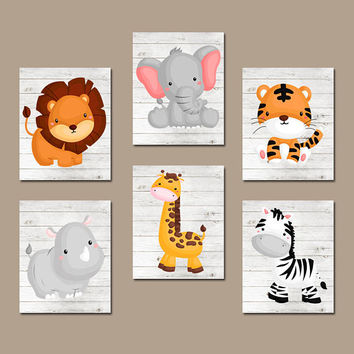JUNGLE Animal Wall Art, Baby Boy Animal Nursery Artwork, Wood Background, Safari Animals, Boy Bedroom, Canvas or Prints, Zoo Theme, Set of 6