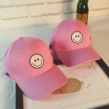 Cute Pink Smile Baseball cotton cap