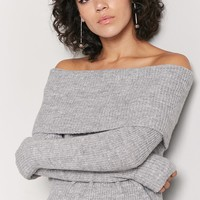 Ribbed Off-the-Shoulder Sweater