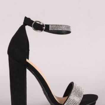 Rhinestone Accent Suede Ankle Strap Platform Chunky Heel
