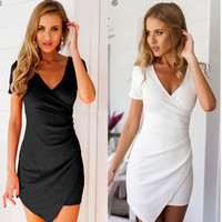 Women's Trending Popular Fashion 2016 Summer Package Hip V Neck Solid Casual Party Playsuit Bodycon Boho Dress  _ 3691