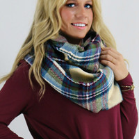 The Norfolk Blue Tartan Plaid Knit Infinity Scarf With Frayed Hem