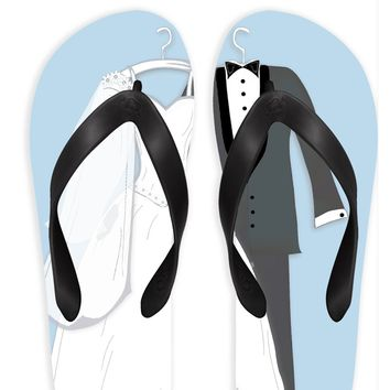 Wedding Couple with Blue Background Flip Flops
