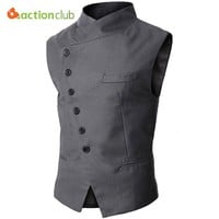 ACTIONCLUB Mens Vest Men High Quality Black Gray Formal Business Men Dress Vests Fashion Brand Vest Fit Suits & Blazer For Men