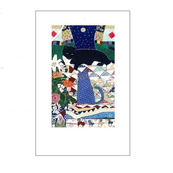 """Artists Blank Note Cards, """"Wooden Ducks"""", Cat on Couch with Quilt and Wooden Duck Toy"""