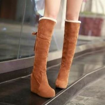 Hot Deal On Sale Stylish Wedge Matte Boots [11192767815]