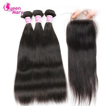 Brazilian Straight Hair Human Hair Bundles With Closure Straight Brazilian Hair Weave 3 Bundles With Closure Queen Mary NonRemy