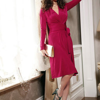 Rose Long Sleeve Tie-Waist Midi Dress