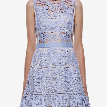 Blue Side Hollow Lace A-Line Dress Wedding Homecoming Party Dress