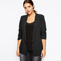 Women's fashion spring plus size mm turn-down collar slim waist small suit jacket female free shipping