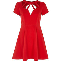 Red cross neck detail skater dress