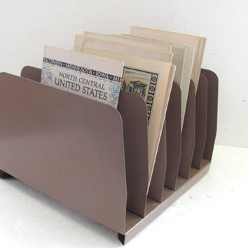 Vintage desktop file cabinet //  metal letter and bill holder desk organizer