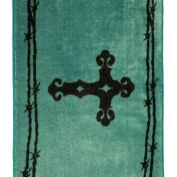 Cowgirl Kim Cross & Barb Wire Rug~ Turquoise
