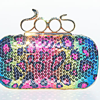 Snake Knuckle Ring Animal Print Custom Clutch Leopard Sex Hot Purse