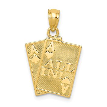 14k Yellow Gold All In! Ace Playing Cards Pendant
