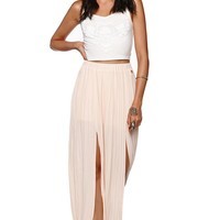 Kendall & Kylie Pleated Maxi Skirt - Womens Skirt - Peach -