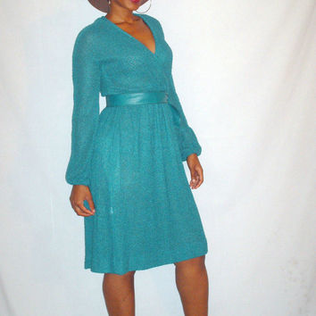 Vintage 1970s Green Dress Dark Green