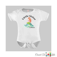 Little Sister Mermaid Baby Bodysuit / Toddler Tshirt / Kids Tshirt