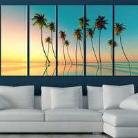 Large Wall Art Sunset and Palms Large Canvas Print, Canvas Prints wall decoration, large wall art, original canvas printing