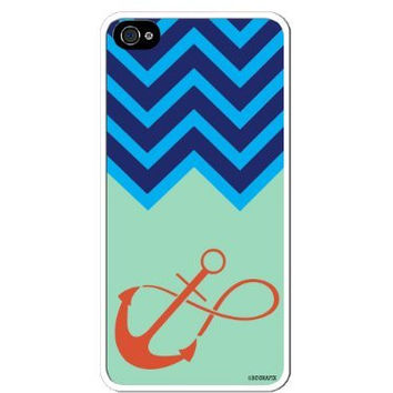 Premium Direct Print Chevron Blue Turquoise Infinity Anchor iphone 6 Quality Hard Snap On Case for iphone 6/Apple iphone 6 - AT&T Sprint Verizon - White Case PLUS Bonus RCGRafix The Best Iphone Business Productivity Apps Review Guide