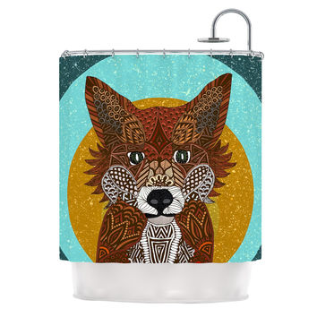 "Art Love Passion ""Colored Fox"" Blue Orange Shower Curtain"
