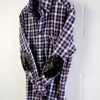 Boyfriend Sequin Flannel Shirt Purple Plaid Flannel with Black Sequin Elbow Patches