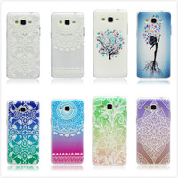 Colorful Printed Transparent Floral Flower Clear Soft Elephant Tree TPU Case Cover For Samsung Galaxy Grand Prime G530H G530