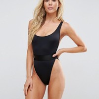 ASOS High Leg Elastic Waist Swimsuit at asos.com