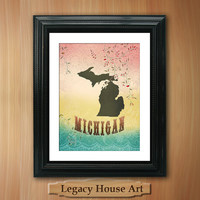 Michigan State Map Art 85X11 Reminiscence by LegacyHouseArt