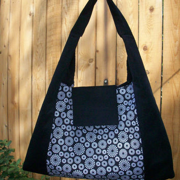 Dot Circles Black and White Large Shoulder Bag Slouchy Hobo  with Snap Closure