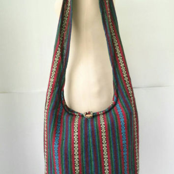 Nepali Cotton Crossbody Shoulder Bag Sling Hippie Hobo Boho Yam Diaper Purse Tote Thai bags Nepalese Cross Body Tribal Woven Aztec Print