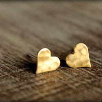 Hammered Heart Earring Studs in Raw Brass by saffronandsaege