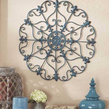 Teal Medallion Wall Metal Scroll Sculpture Antiqued Finish Large Decor Art NEW