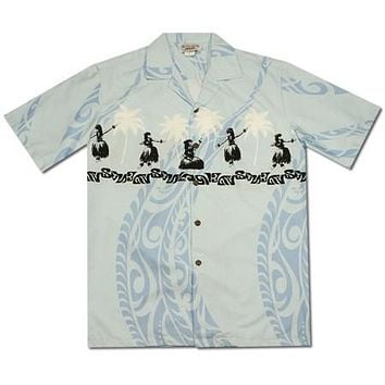 Hula Dance Blue Hawaiian Border Aloha Sport Shirt