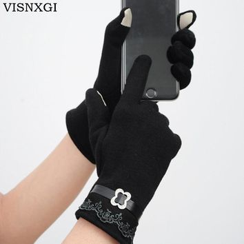 VISNXGI 2017 Fashion Lace Bow Women Winter Gloves Female Ladies Girls Touched Mittens Sheep Wool Glove Mitten Guantes 6 Colors