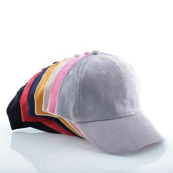 Solid Color Corduroy Casual Baseball Cap Adjustable Strapback Hat For Men Women