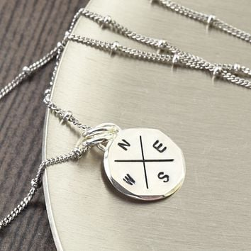 Sterling silver compass rose pendant necklace for the Traveler