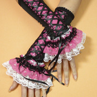 Gothic Lolita Corset Gloves, Laced Armwarmers with Lace Frill, Black Pink White Costume, Belly Dance, Burlesque, Cosplay