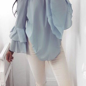 Blue Off Shoulder Chiffon Shirt