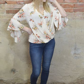 Keep You Happy Floral Cream Top