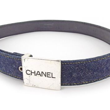 Auth CHANEL Belt Denim Ladies used T4229