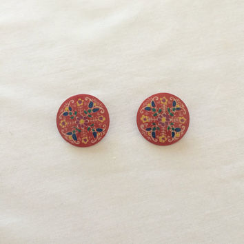 1950's German Handpainted Earrings ~ Folk Art ~ Tin ~ Clip On ~ Vintage Jewelry ~ West Germany